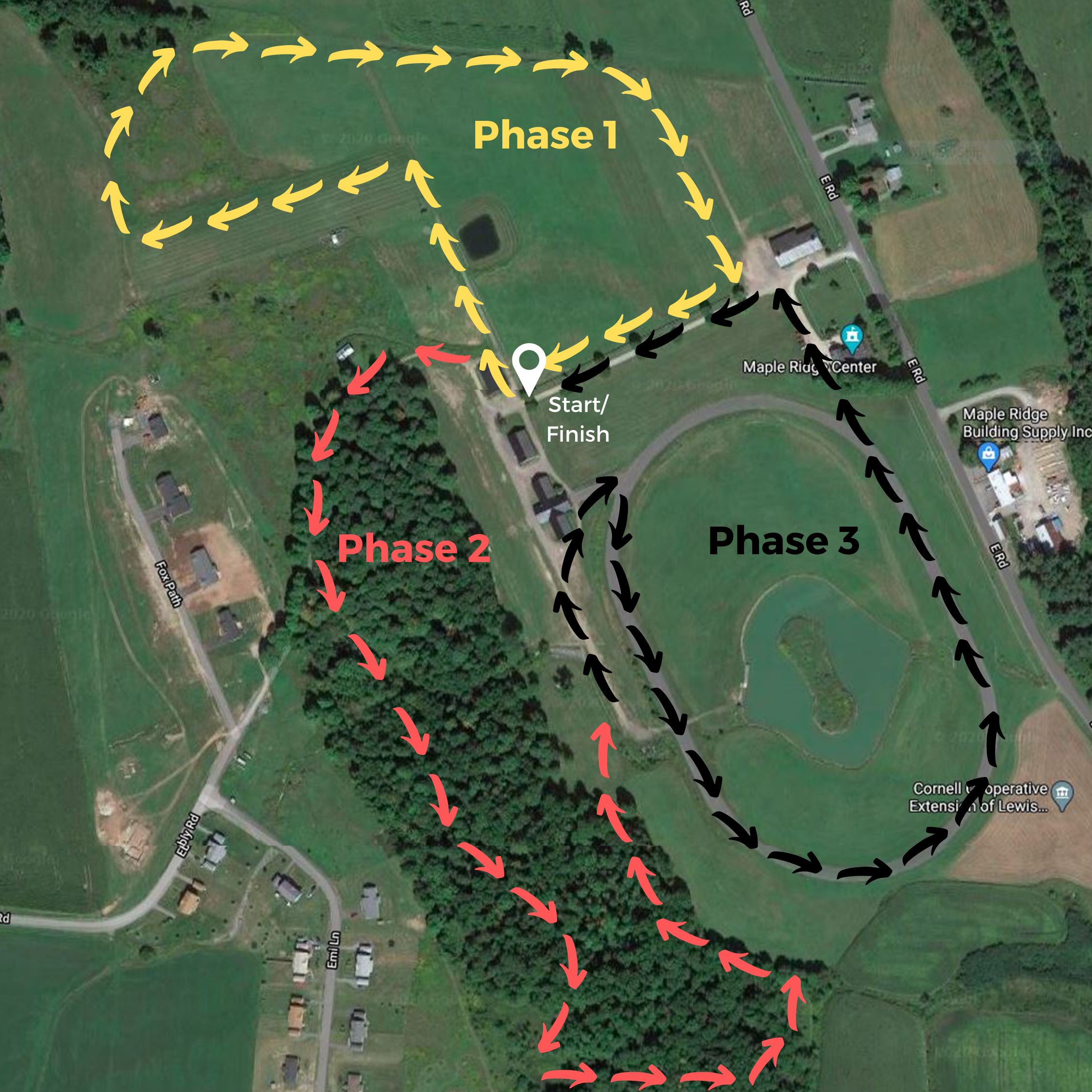 Map of the Rugged Run course at Maple Ridge Center in Lowville, NY